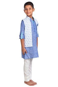 Tree printed jacket with kurta and pants