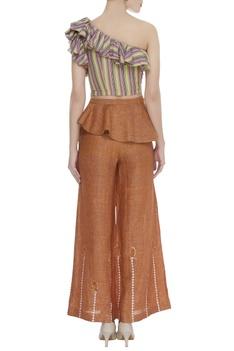 One shoulder top with flared pants & belt