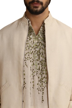 Embroidered bomber with zipper