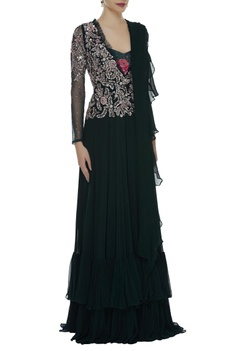 Sequin Embroidered Jumpsuit With Ruffled Dupatta