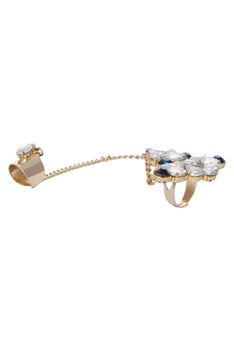 Gold plated ring with chain
