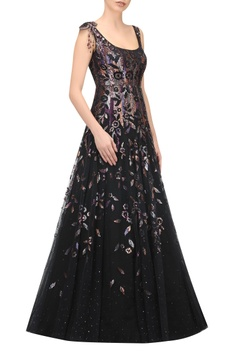 Hand embroidered gown with crystal work dupatta