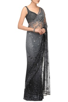 Sequin & crystal embroidered sari & blouse with petticoat