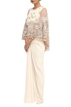Hand embroidered cape with embellished fringes