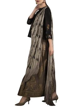 Embroidered peplum blouse with brocade work draped sari
