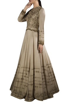 Embroidered lotus motif peplum gown