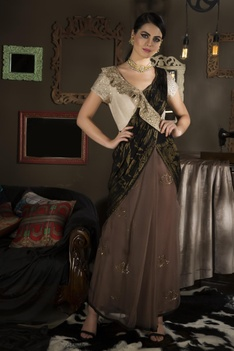 Embroidered draped sari with brocade work pallu