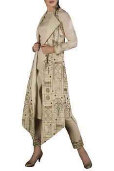Embroidered halter neck jacket with asymmetric kurta & pencil pants