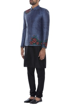 Block printed bandhgala with kurta & pyjama