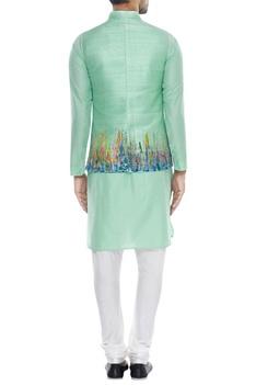 Abstract printed nehru jacket with kurta & pyjama