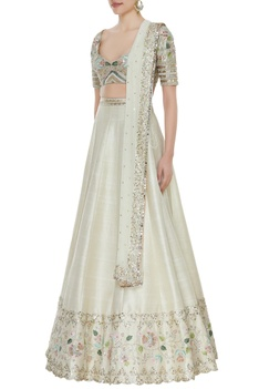 Floral embroidered lehenga & blouse with badla dupatta