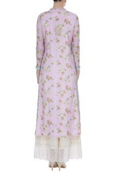 Foral print kurta with gota pati & sequins work