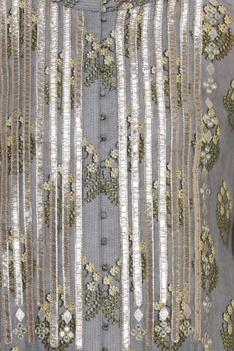 Button down floral kurta with gota pati work