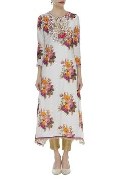Floral kurta with mirror & zardozi work