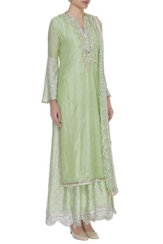 Bell sleeves layered mirror work anarkali kurta with dupatta