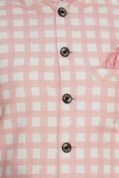 Chequered mandarin collar bundi