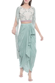 Draped skirt with floral printed top