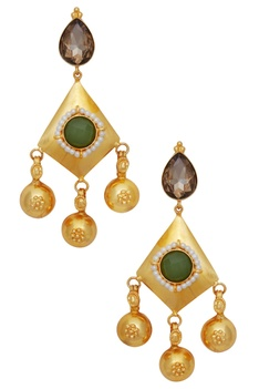 Danglers with green crystal