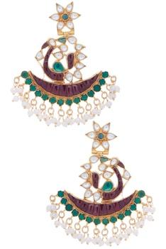 Crescent Kundan & Pearl Earrings