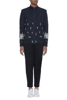 Chess element print bomber jacket with stripe detail
