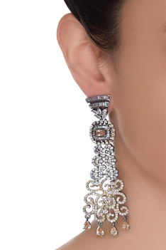 Structured Stone Encrusted Earrings