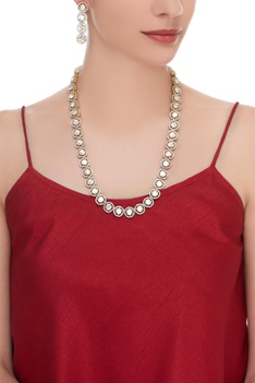 Stone studded single line necklace with earrings