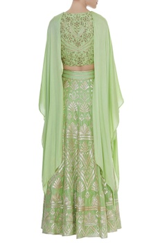 Embroidered lehenga set with flared cape sleeves