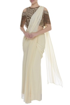 Cold shoulder embroidered blouse with pre draped sari