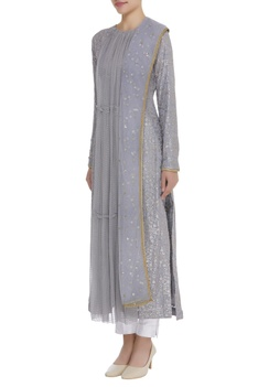 Sequin embroidered kurta with dupatta