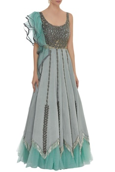 One side frill sleeve embroidered gown