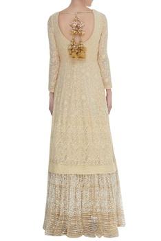 Lucknowi zardozi work anarkali gown with dupatta