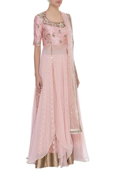 Embroidered Blouse With Lehenga & Dupatta