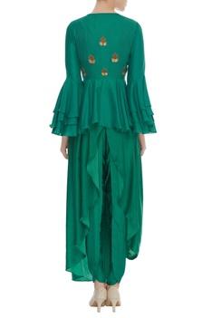 Peplum Jacket with crop top & draped skirt