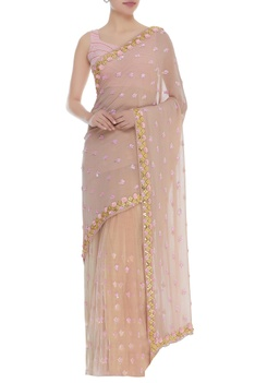 Rose motif embroidered sari with blouse