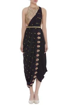 Embroidered dhoti sari