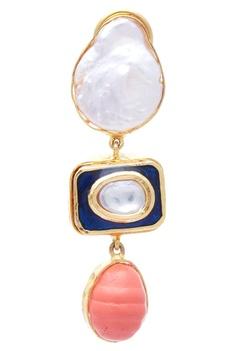 Pearl polki earrings