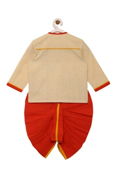 Applique hand embroidered kurta with dhoti pants
