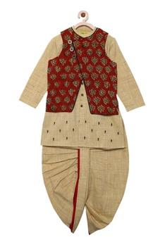 Kurta with reversible printed nehru jacket and dhoti pants
