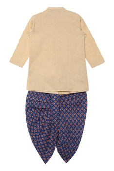 Printed bandhgala kurta with dhoti pants