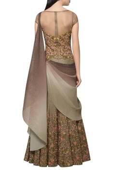 Embroidered & shimmer draped sari gown