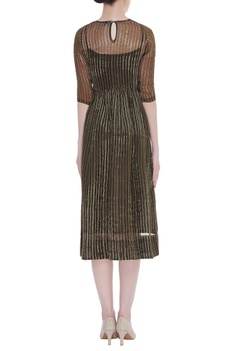 Vertical Stripes Midi Dress