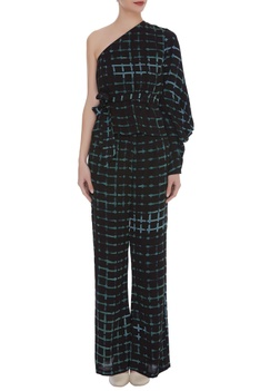 Block printed top with flared pants