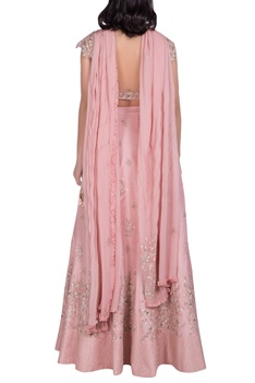 Off Shoulder Embroidered Blouse With Lehenga & Dupatta
