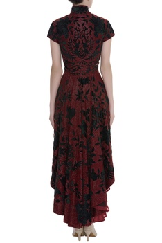 Hand embroidered asymmetric gown