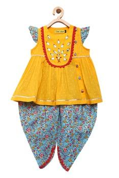 Gota and bead embroidered kurta & dhoti pant set