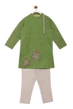 Side placket embroidered kurta set