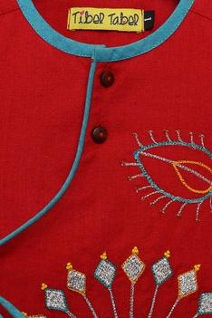 Peacock embroidered kurta with dhoti pants