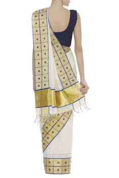 Handloom Cotton Chequered & polka dot sari with unstitched blouse