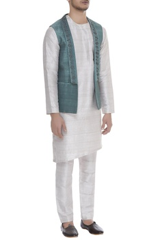 Raw silk open front bundi