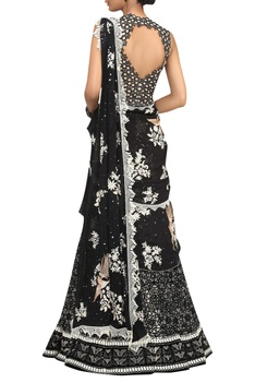 Sequin Embroidered Saree With Cut Out Blouse